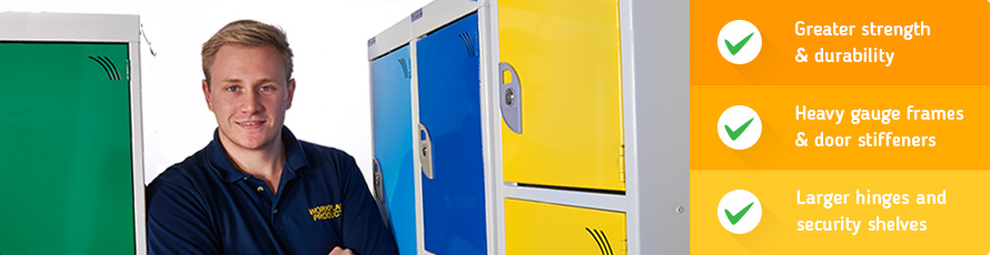 Heavy duty lockers with greater strength and durability