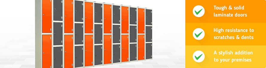 Laminate door lockers are robust and withstand dents and scratches