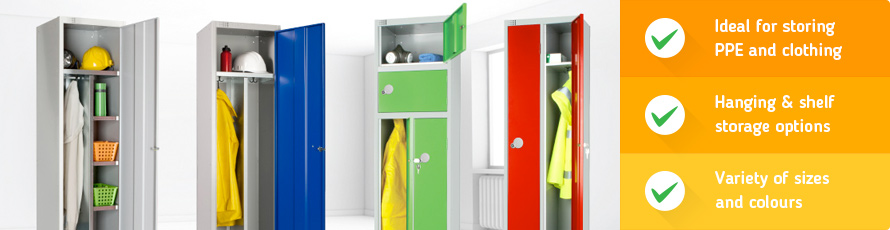 Workwear lockers ideal for storing personal protective equipment